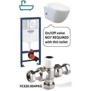 Creavit Free Wall Hung Pan Combined Bidet Toilet with Built-in On/Off Valve Package
