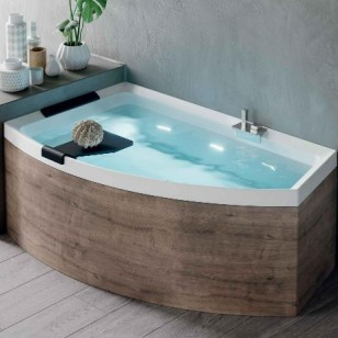 Novellini Divina O (HYDRO AIR) offset corner bathtub with shell+Mixer 1650 x 980mm