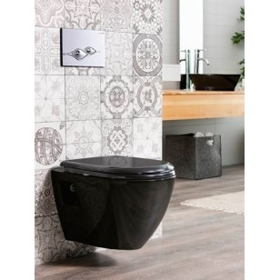 TP325 Black Wall Hung Pan and Soft Close Seat - UK Manchester Liverpool Wall Hung WC Selection - White